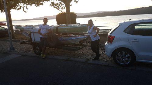 Gerentes de Kurrican a la llegada en Villagarcía.